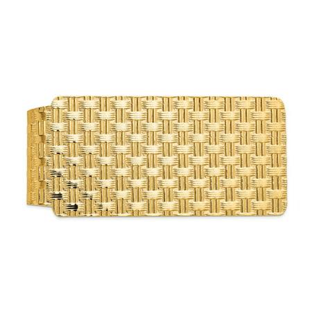 14K Yellow Gold Fancy Textured Money Clip