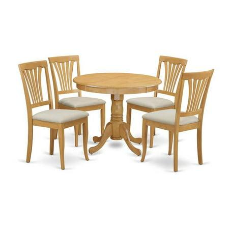 East West Furniture ANAV5-OAK-C Antique Kitchen Dinette Table & 4 Chairs,  Oak
