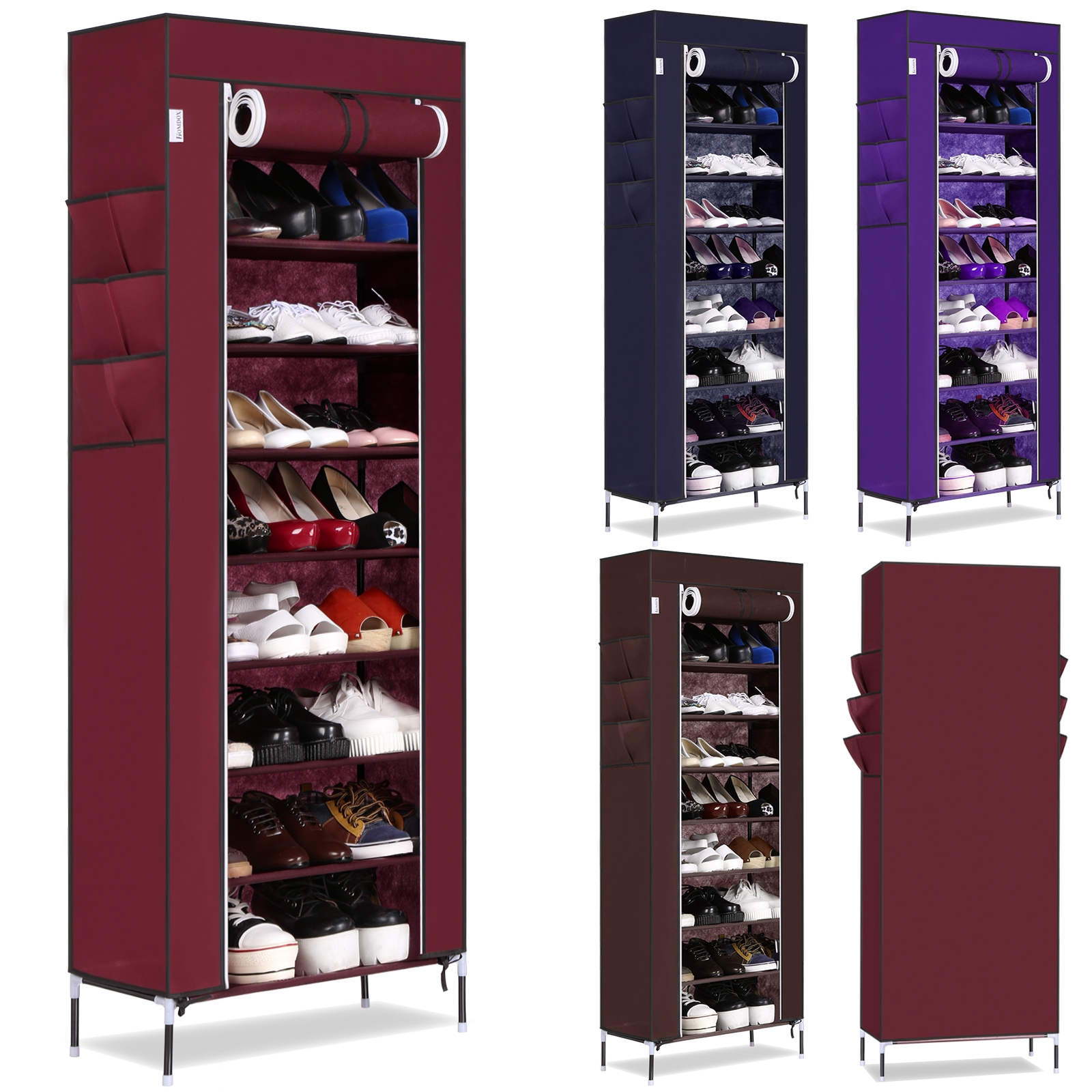 Portable Shoe Rack 10 Layer 9 Grid Shoe Cabinet Organizers  with side pockets