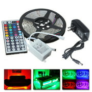 5M RGB 5050 Water-Resistant LED Strip Light SMD with 44 Key Remote & 12V Power supply,Color Changing Flexible strip with White color