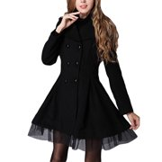 Women's Lapel Wool Peacoat Office Trench Slim Fit Jacket Mini Dress Overcoat