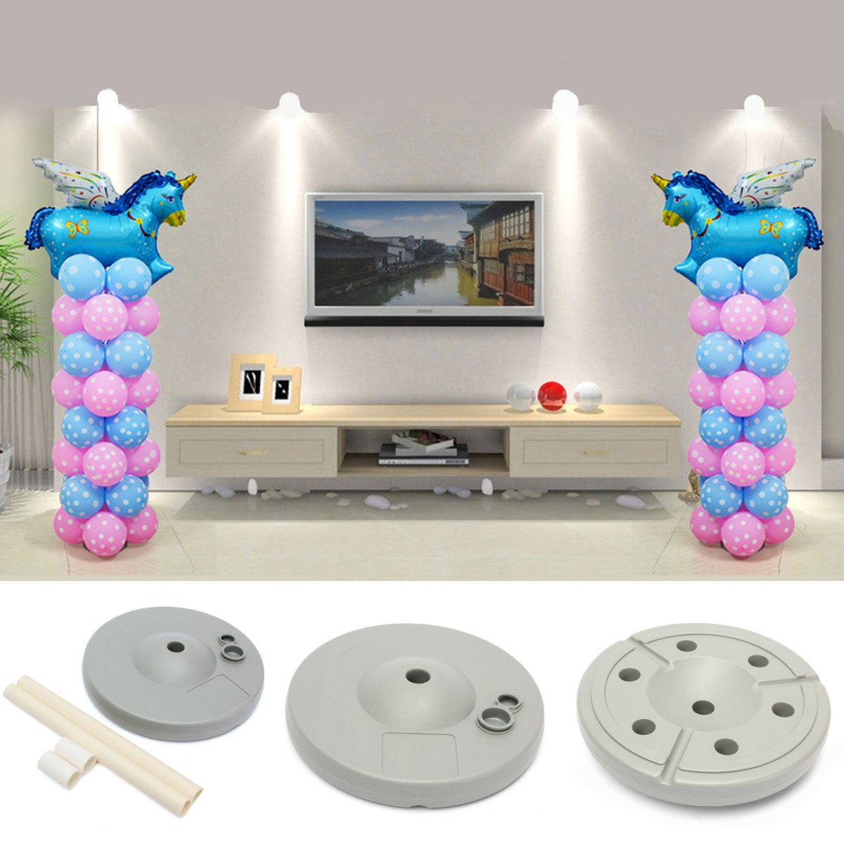 2 Set Balloon Column Base Stand Door Stage Upright Display Kit Birthday Wedding Festival Party Decor  59 inch Tall