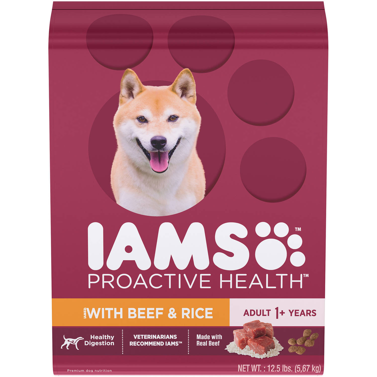 Iams Proactive Health With Beef And Rice Dry Dog Food, 12.5 Pounds