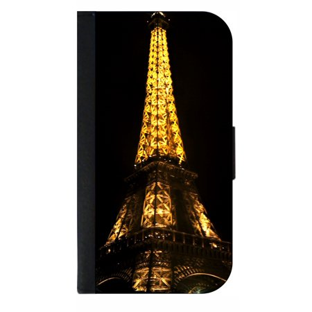 Phone Theme Shop (Parisian Themed Eiffel Tower Lit Up in Paris, France - Wallet Style Cell Phone Case with 2 Card Slots and a Flip Cover Compatible with the Apple iPhone 7 Plus)