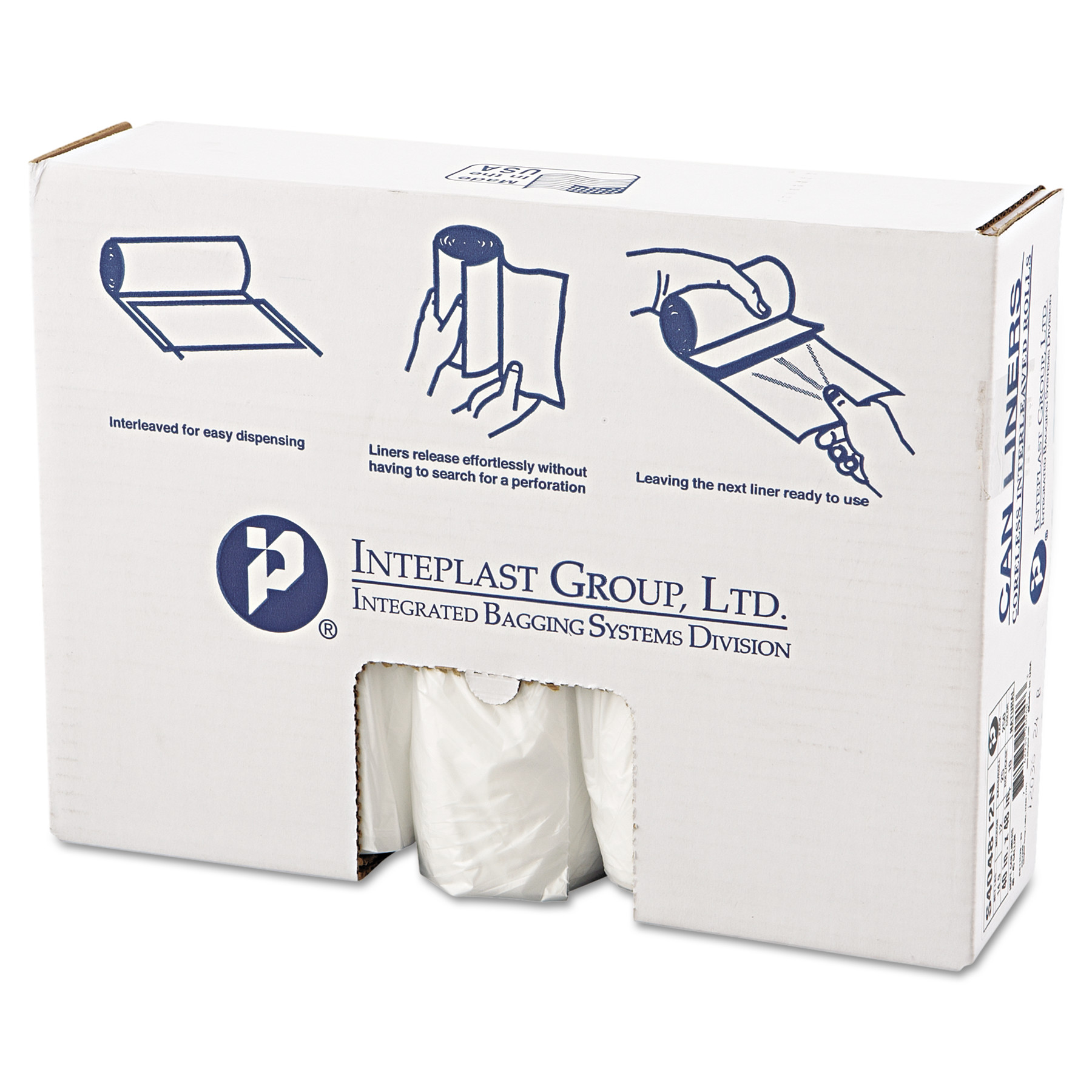 Inteplast Group High-Density Can Liners, 45 Gallon, Clear, 25 count, (Pack of 10)