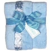 """Raindrops Baby Boys Flurr Receiving Blanket, Blue With White Dots, 28"""" X 36"""""""