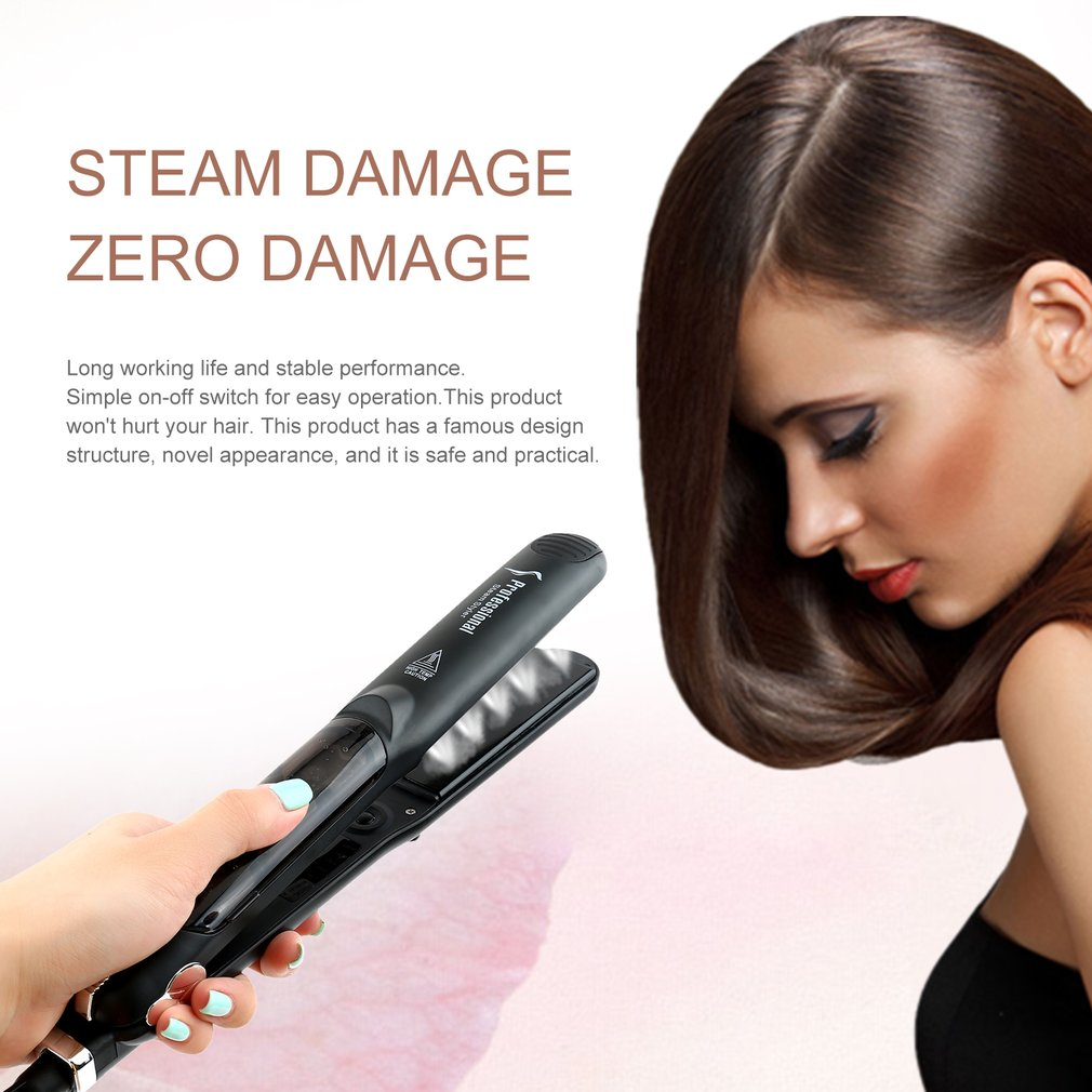 Professional Dual Use Ceramic Vapor Steam Hair Straightener Salon Personal Use Hair Styling Tool Straightener