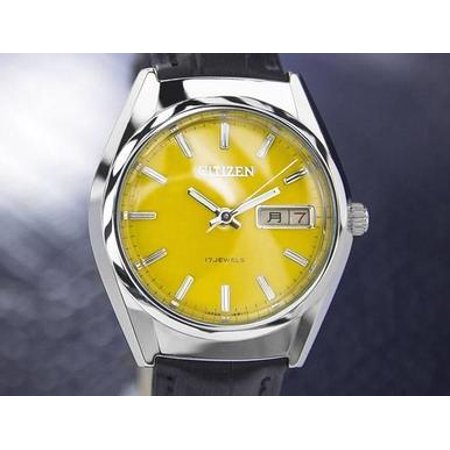 Citizen Day Date Manual Wind Mens Japanese Vintage Watch Yellow Dial 1970s J7077