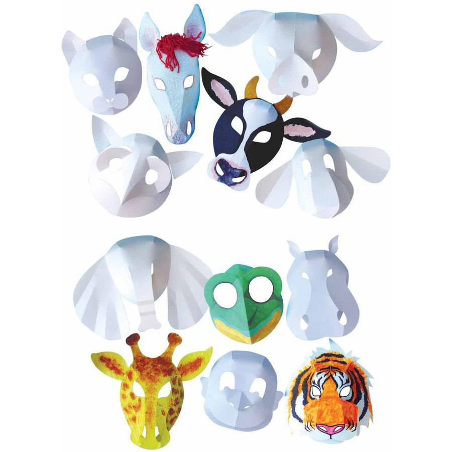 Roylco Domestic Animal Mask, White, Pack of 30