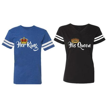 Her King His Queen Matching Couple Cotton Jerseys (Men Royal / Women Black) (Men S / Women S) Queen Bee Jersey T-shirt