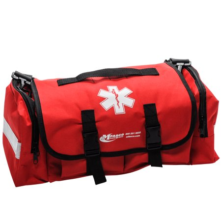 Empty First Aid Bag EMT Style Red Color With Reflective Strips by MFASCO