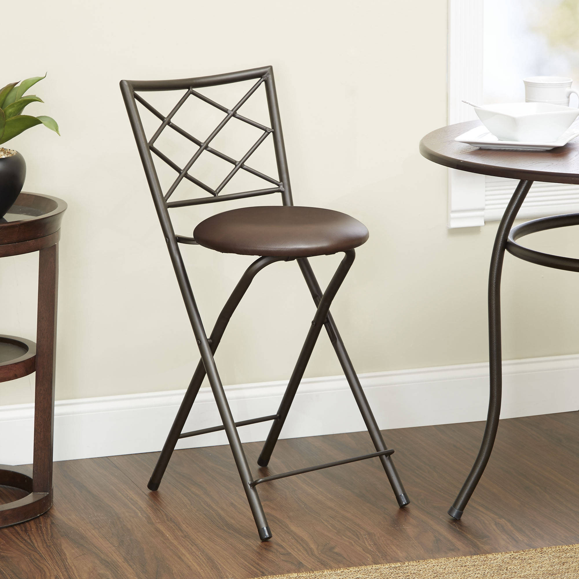 "Diamond X-Back Folding 24"" Barstool Bronze, Multiple Colors"