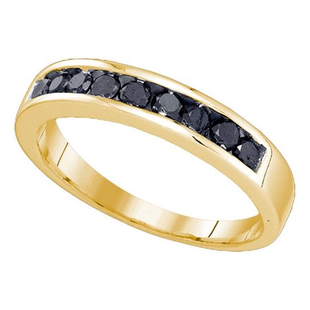 (10kt Yellow Gold Mens Round Black Color Enhanced Diamond Wedding Band Ring 1/2 Cttw)
