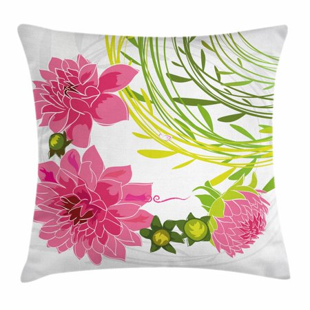 Flowers Throw Pillow Cushion Cover, Gentle Nature Theme Stylized Dahlia Blossoms Green Leaves and Butterfly, Decorative Square Accent Pillow Case, 20 X 20 Inches, Pink Green Pale Grey, by Ambesonne