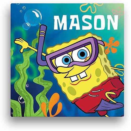"Personalized Spongebob SquarePants Snorkel 12"" x 12"" Canvas Wall Art"