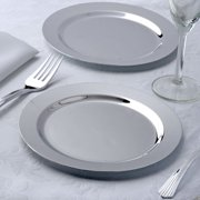 """Efavormart 24 Pack 7.5"""" Shiny Silver Round Disposable Partytown Plastic Plates"""