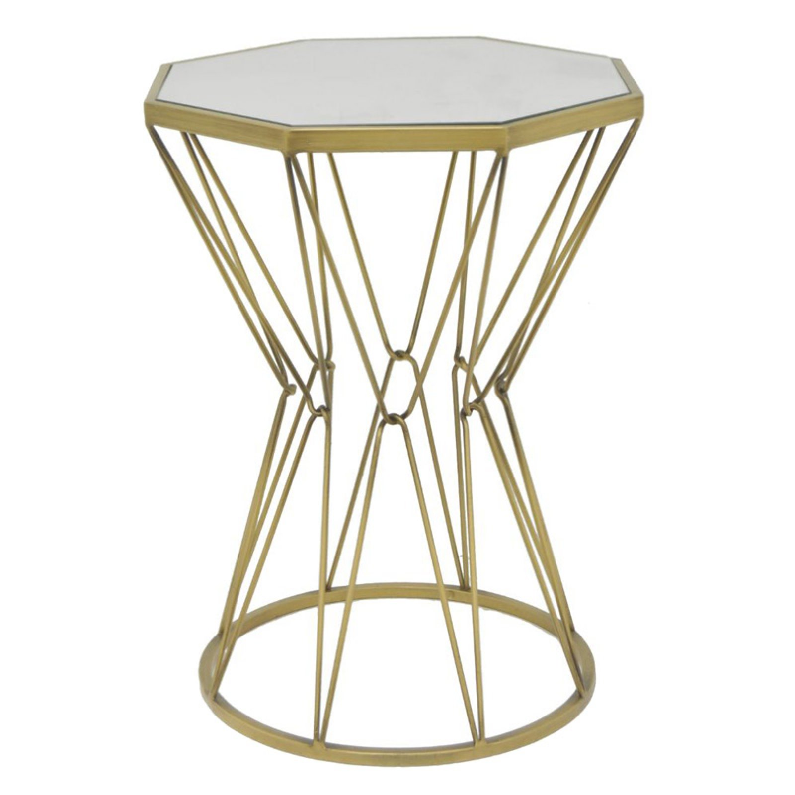 Alluring Metal Accent Table With Mirror