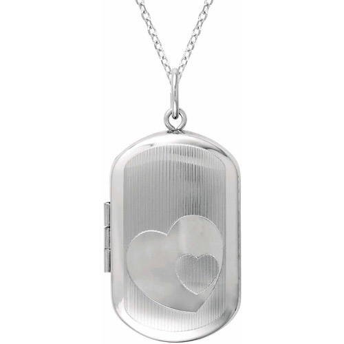 Sterling Silver Rectangle-Shaped with Hearts Locket