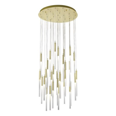Pendants 31 Light Fixtures With Brushed Brass Finish G9