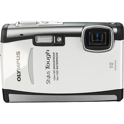 "Olympus Stylus Tough 6000 White 10 MP Digital Camera, 3.6x Optical Zoom 2.7"" Hypercrystal III LCD, Shockproof (5'), Waterproof (10')"
