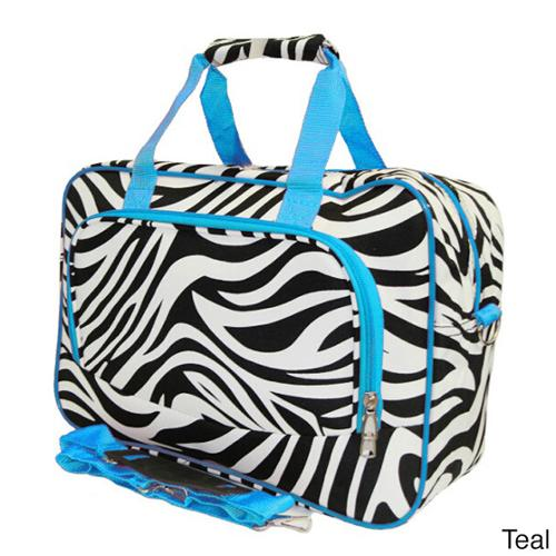 One Size World Traveler 21-Inch Carry-On Shoulder Tote Duffel Bag Blue Trim Zebra