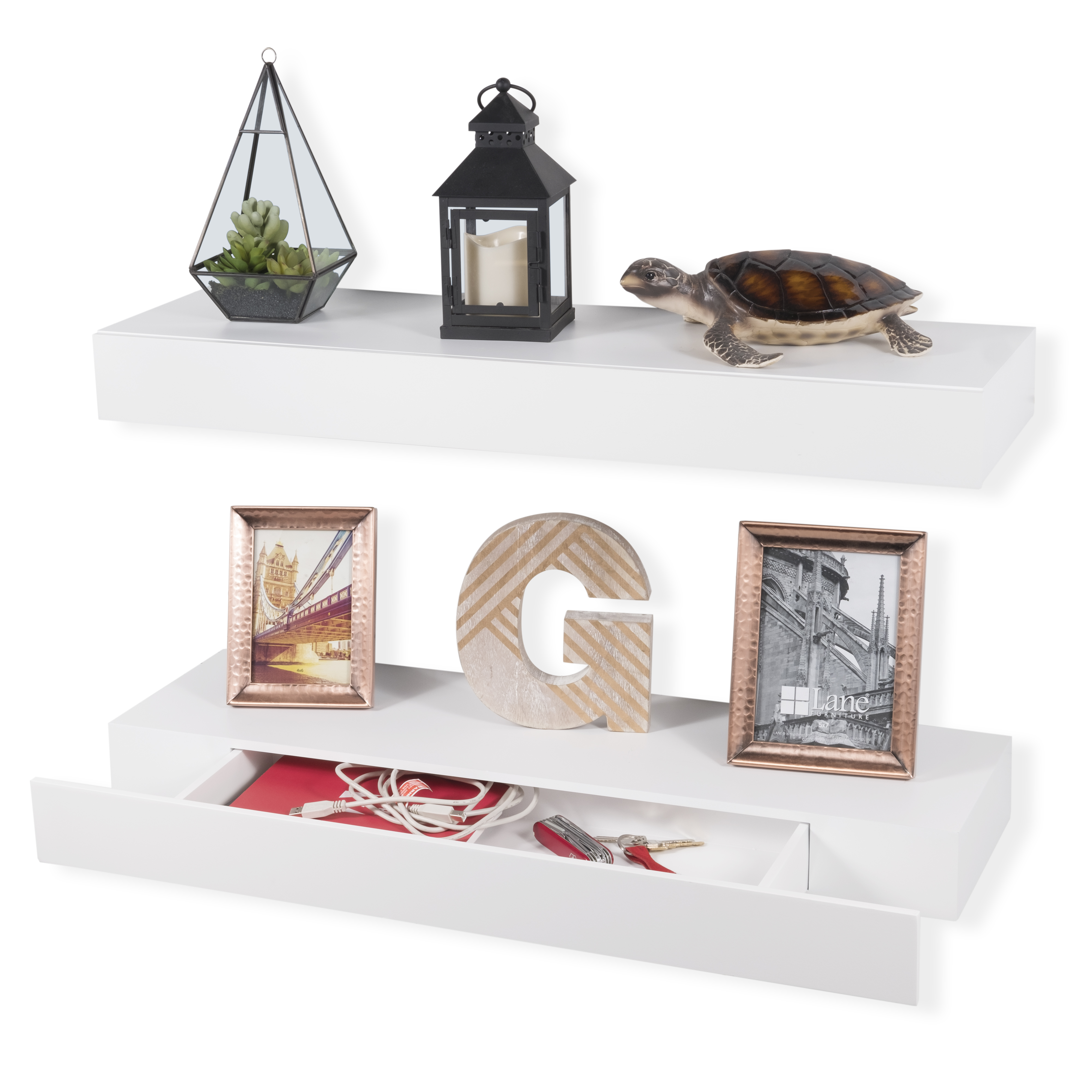 Floating Display Shelf Wall Mount with Pull Out Drawer by Wallniture Perfect for Living Room Media Storage Set of 2 White