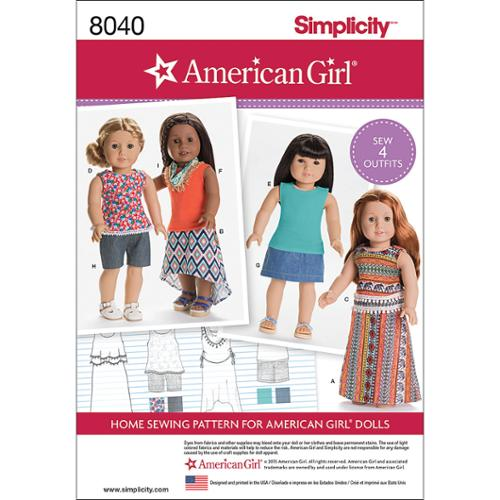 SIMPLICITY AMERICAN GIRL DOLL CLOTHES FOR 18 DOLL-ONE SIZE