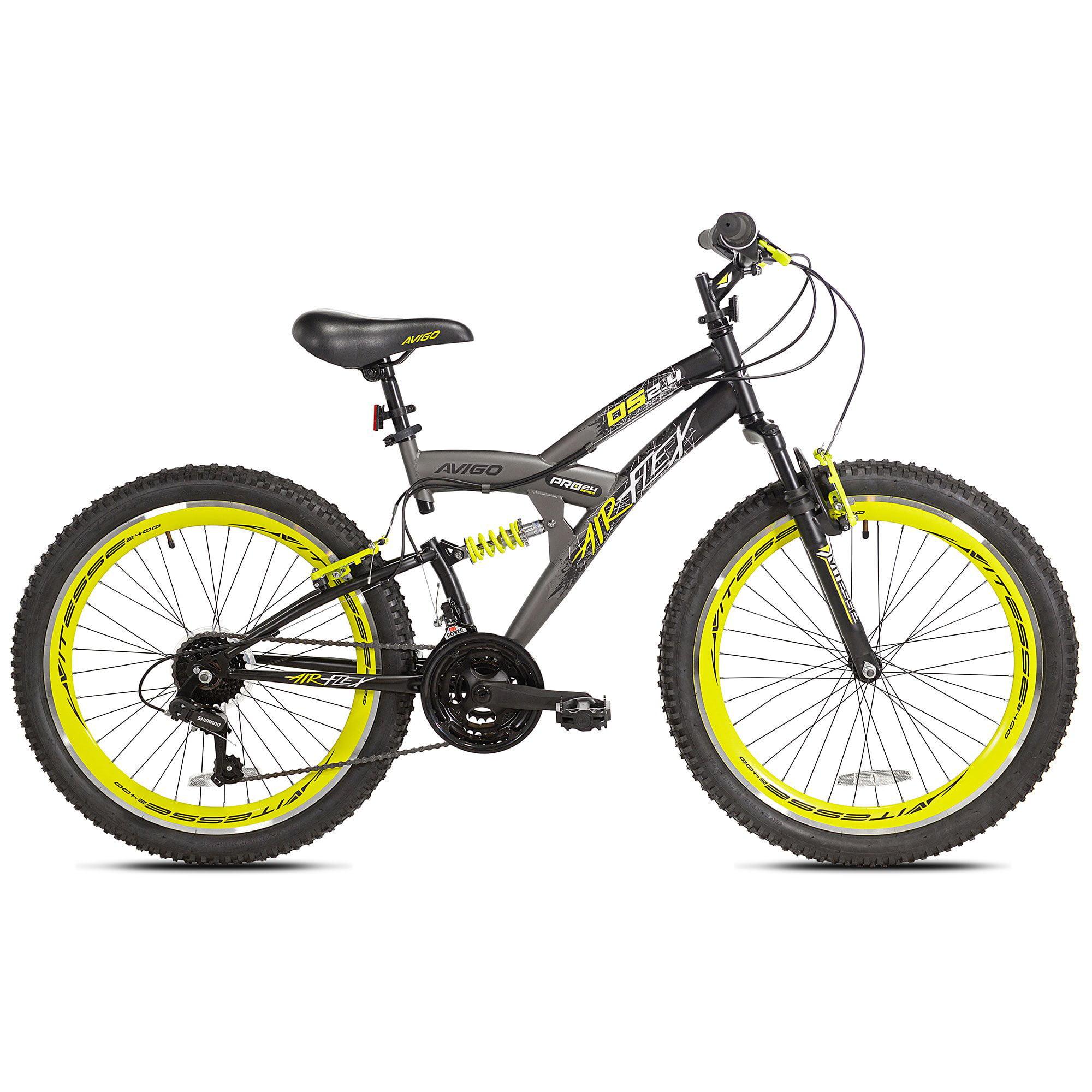 Kent Bikes Avigo Air Flex Dual Suspension Steel 24 Inch Boys BMX Bike, Yellow by Kent Bikes