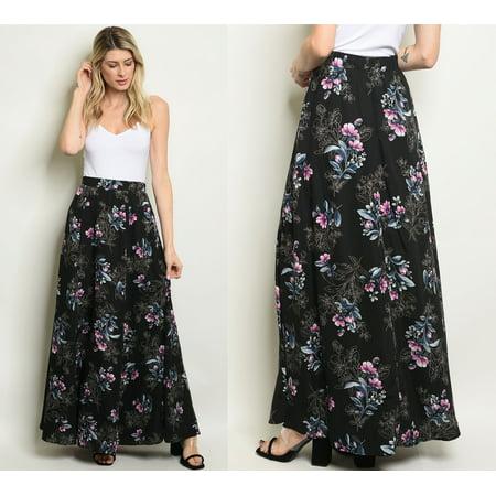 03b33a3e0a8f2 JED FASHION - JED FASHION Women's A-Line Floral High Waist Maxi Skirt -  Walmart.com