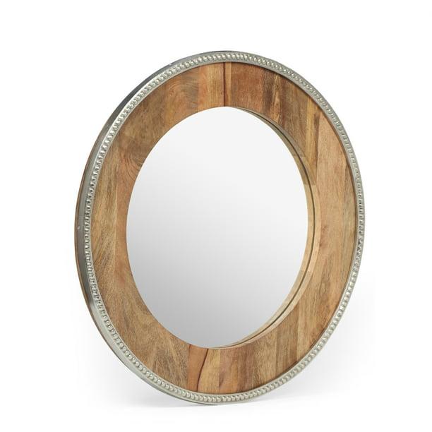 Ostrander Boho Handcrafted Round Mango, Natural Carved Wood Round Mirror