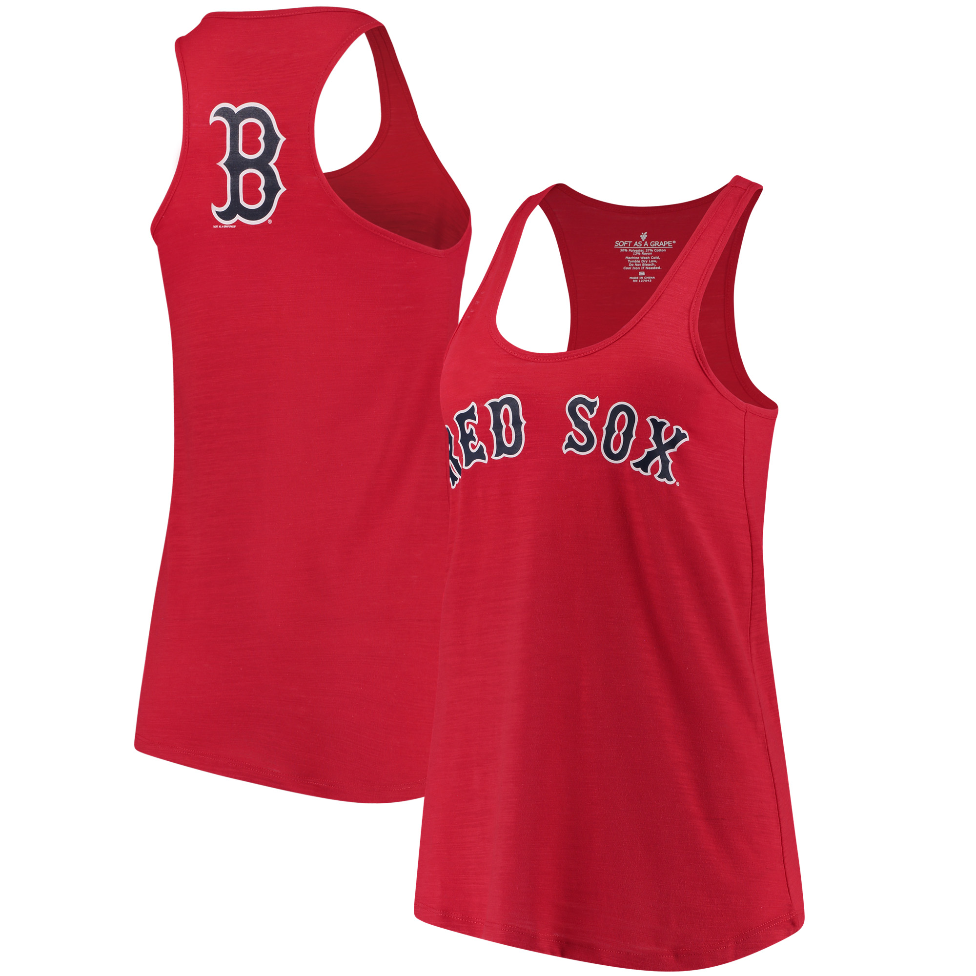 Boston Red Sox Soft As A Grape Women's Front & Back Tri-Blend Racerback Tank Top - Red