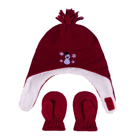 Kids Girls Sherps Lined Embroidered Fleece Hat Mitten Set