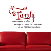 "'Family, Like Branches on a Tree..."" Two-tone Vinyl Wall Decal Brown"