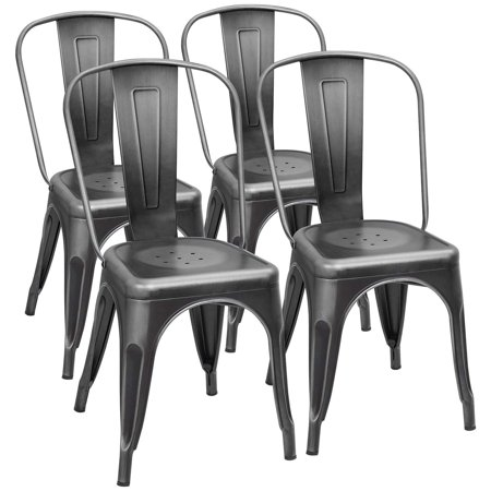 Walnew Set of 4 Metal Chairs Dining Side Chair Stackable Bistro Cafe Bar Stools (Black) Chippendale Bar Side Chair