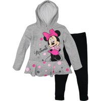 Disney Minnie Mouse Toddler Girls' 2-Piece Fleece Ruffle Hoodie & Legging Set, Heather Grey 18 Months