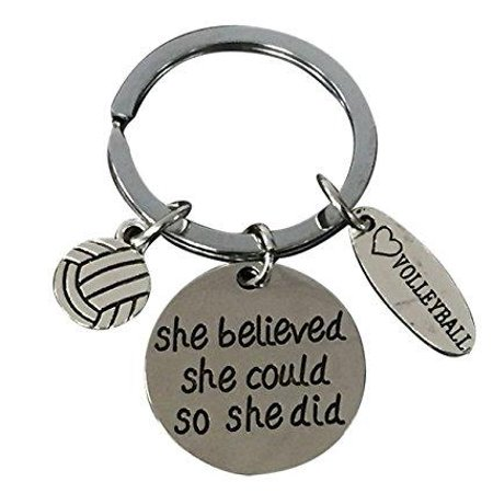 Volleyball She Believed She Could So She Did Keychain - - Volleyball Keychains