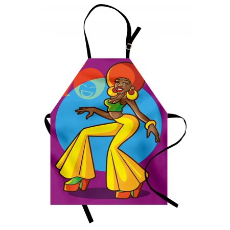 70s Party Apron African American Woman Dancing at the Disco Funky Fashion with Smiling Face Art, Unisex Kitchen Bib Apron with Adjustable Neck for Cooking Baking Gardening, Multicolor, by Ambesonne (70s Fashion For Guys)