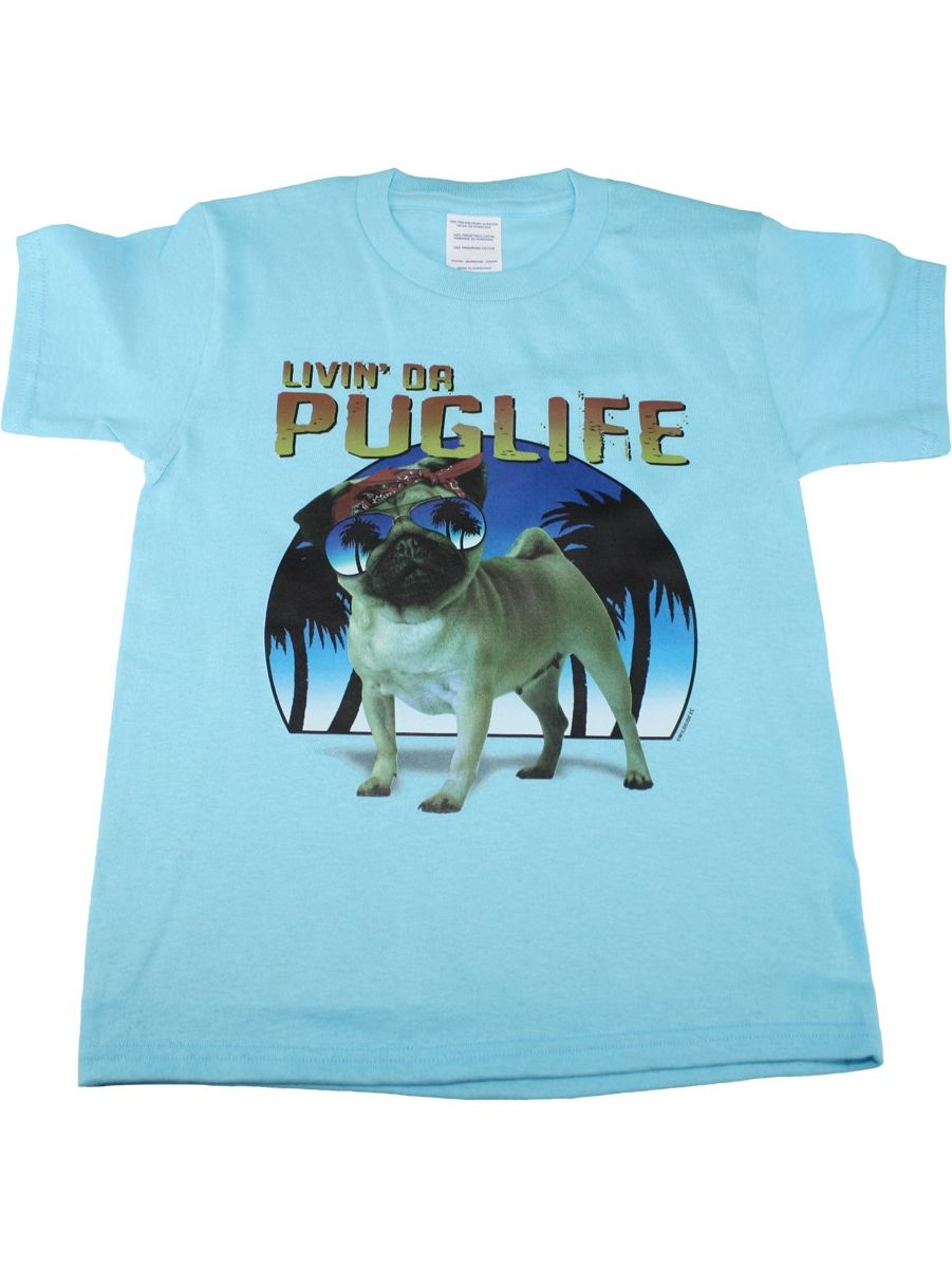 Kids Unisex Blue Living The Pug Life Print Short Sleeve T-Shirt