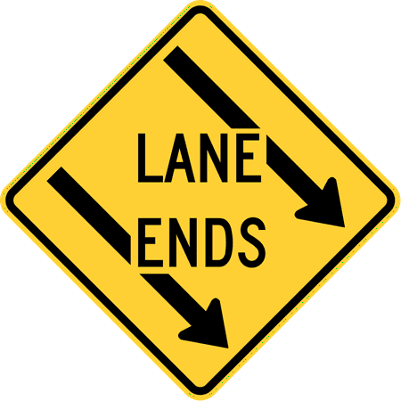 Traffic Signs - Left lane ends, Maryland 12 x 18 Peel-n-Stick Sign Street Weather Approved -