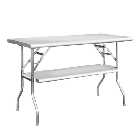 Royal Gourmet PW2448D Outdoor BBQ Folding Work Table Stainless Steel Kitchen Picnic Dinner Double Shelves