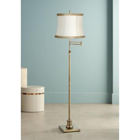 360 Lighting Swing Arm Floor Lamp Adjustable Antique Brass Ivory Linen Drum Shade for Living Room Reading Bedroom Office ()