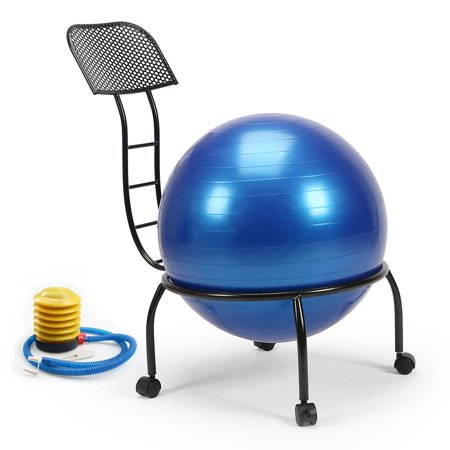 Posture Ball Chair - Live Up Balance Ball posture Chair Exercise Fitness 20.3 Inch Yoga Ball Chair Metal Frame With Wheels for Home and Office