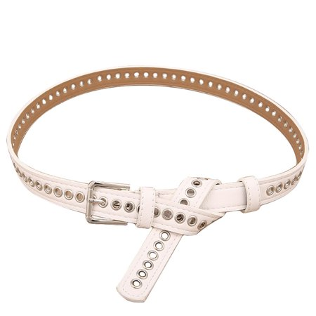 Stylish All-match Thin Waist Belt with Hollow-out Pin Buckle for Jeans Trousers