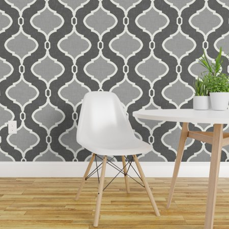 Removable Water Activated Wallpaper Charcoal Grey Trellis Moroccan Quatrefoil