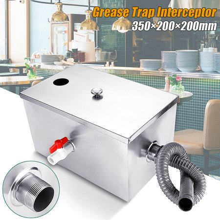 5GPM Gallons Per Minute Stainless Steel Grease Trap Interceptor Set For Kitchen 13.8x7.9x7.9Inch