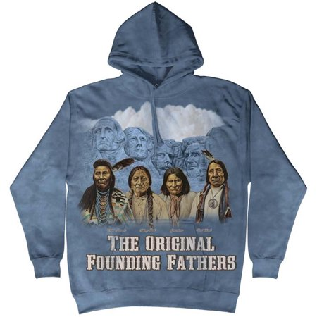 The Mountain Blue Cotton Rushmore Orig Awesome Monument Hoodie Cool (Large) NEW