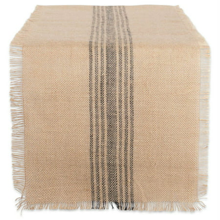 DII Mineral Middle Stripe Burlap Table Runner, 72 x 14