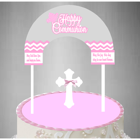 Cake / Food / Cupcake / Desert Decoration Banner Decorating Topper Kit Communion Grey Pink](Communion Banners)