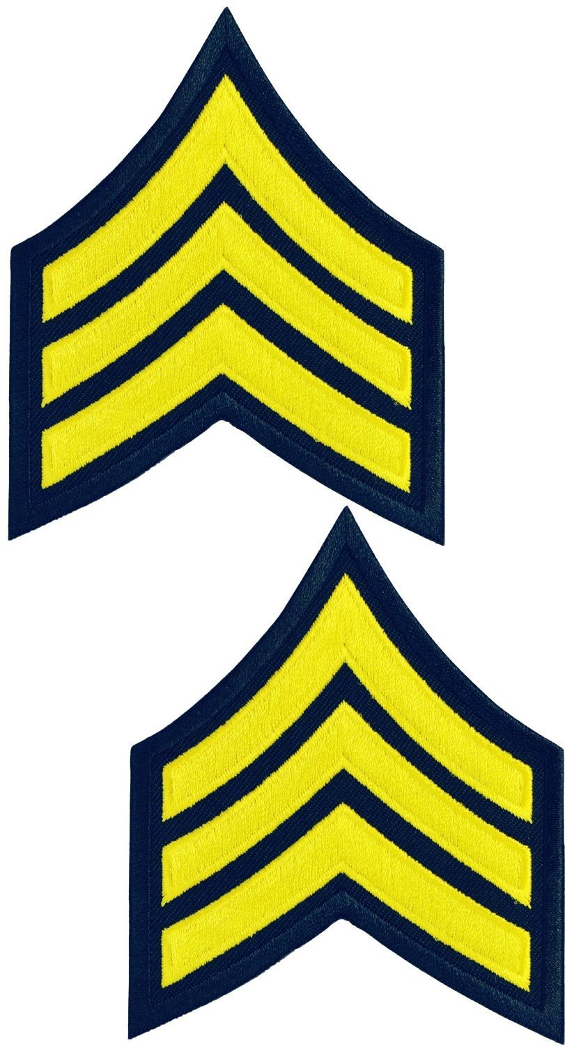Tactical 365® Operation First Response Pair of Sergeant Rank Uniform Chevron Emblem Patches - Gold on Navy