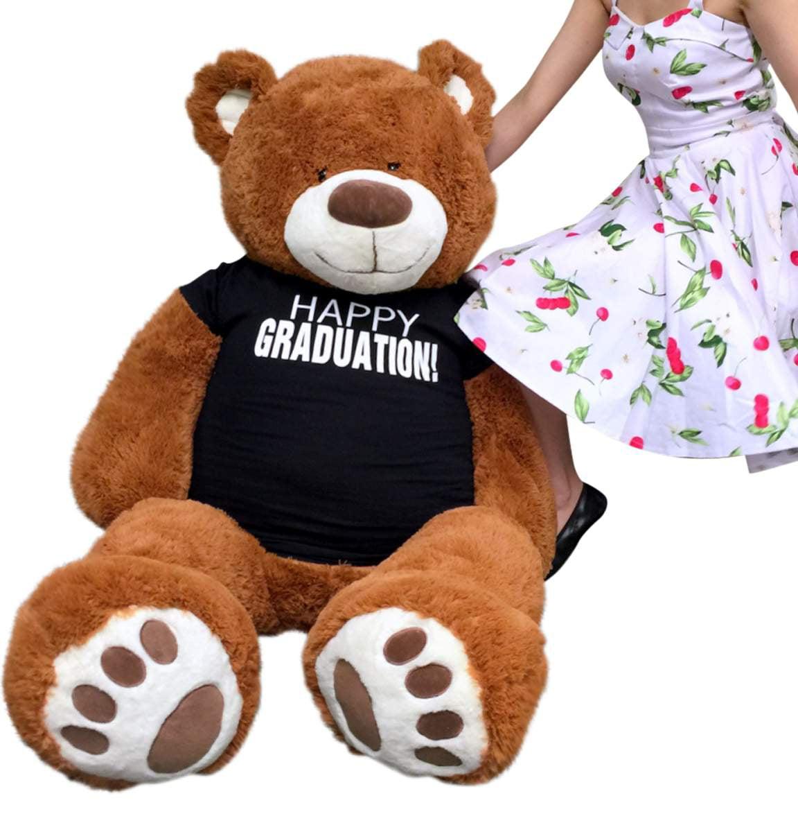 Big Plush 5 Foot Graduation Teddy Bear Soft, Cinnamon Color, T shirt says HAPPY GRADUATION by BigPlush